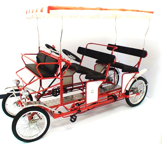 Four wheeled bicycle for 4 people to pedal